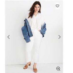 Madewell Cali Demi Boot Jeans Raw Hem Pure White
